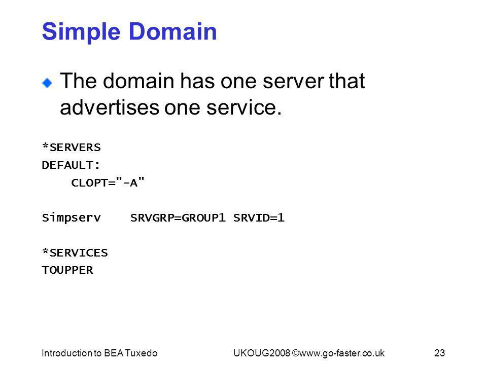 Introduction to BEA TuxedoUKOUG2008 ©www.go-faster.co.uk23 Simple Domain The domain has one server that advertises one service. *SERVERS DEFAULT: CLOP