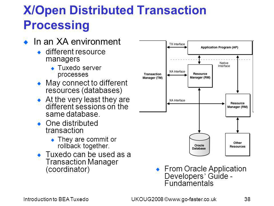 Introduction to BEA TuxedoUKOUG2008 ©www.go-faster.co.uk38 X/Open Distributed Transaction Processing In an XA environment different resource managers