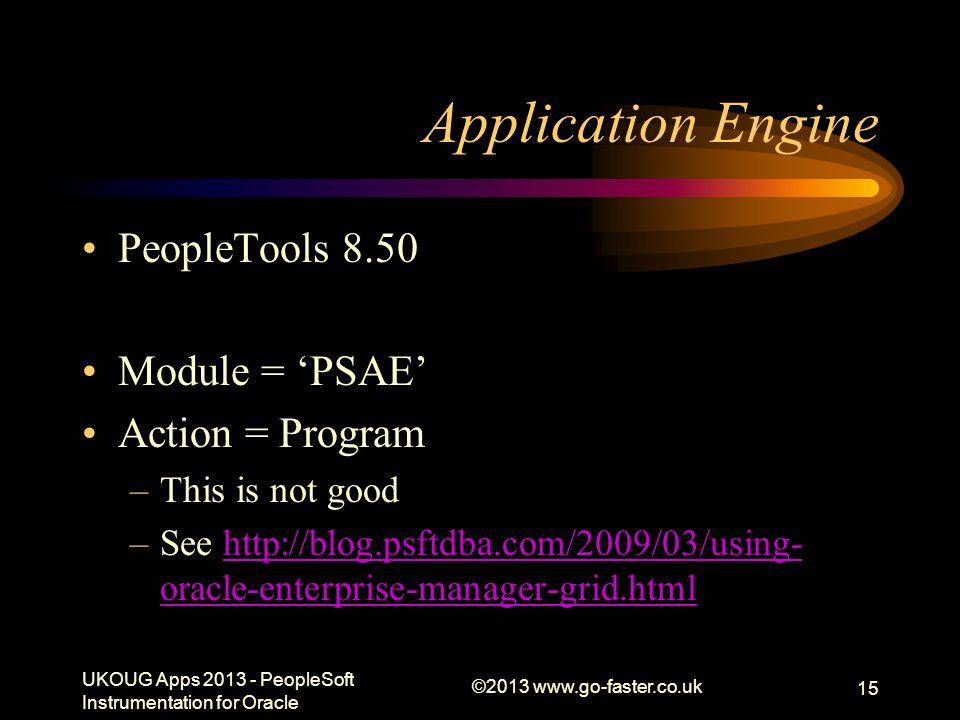 Application Engine PeopleTools 8.50 Module = 'PSAE' Action = Program –This is not good –See http://blog.psftdba.com/2009/03/using- oracle-enterprise-m