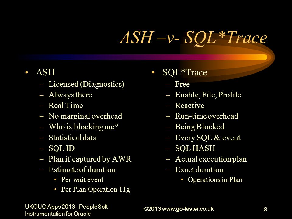 ©2013 www.go-faster.co.uk 8 ASH –v- SQL*Trace ASH –Licensed (Diagnostics) –Always there –Real Time –No marginal overhead –Who is blocking me? –Statist