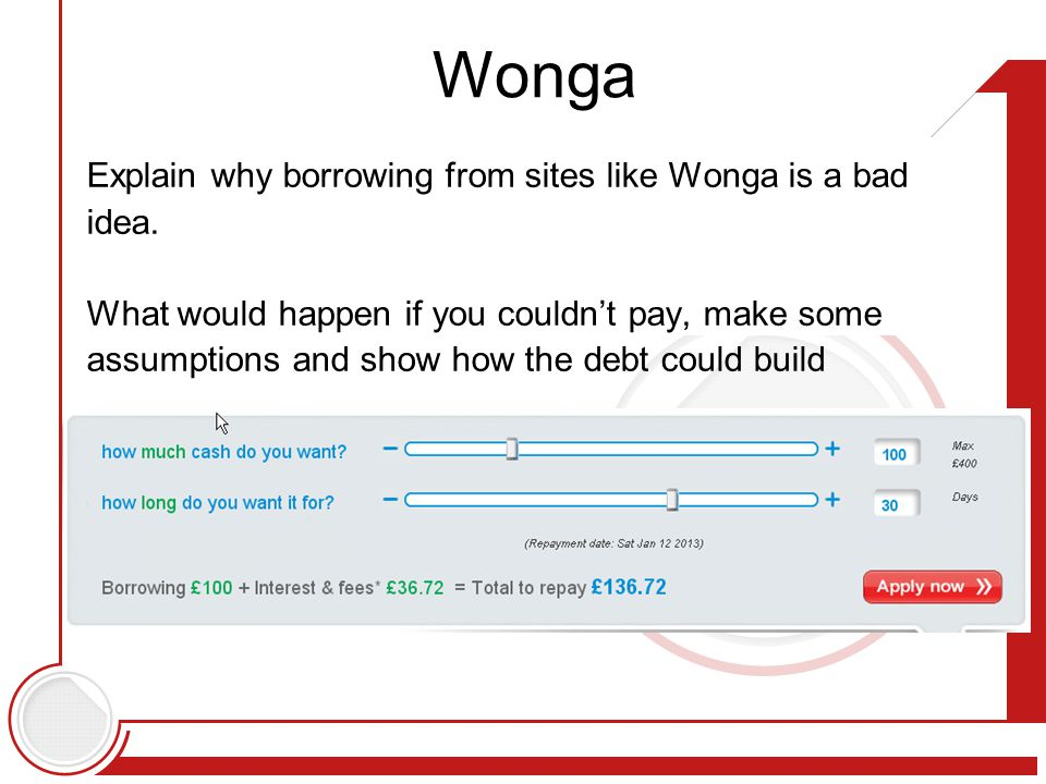 Explain why borrowing from sites like Wonga is a bad idea.