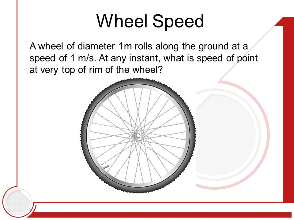 Wheel Speed A wheel of diameter 1m rolls along the ground at a speed of 1 m/s.