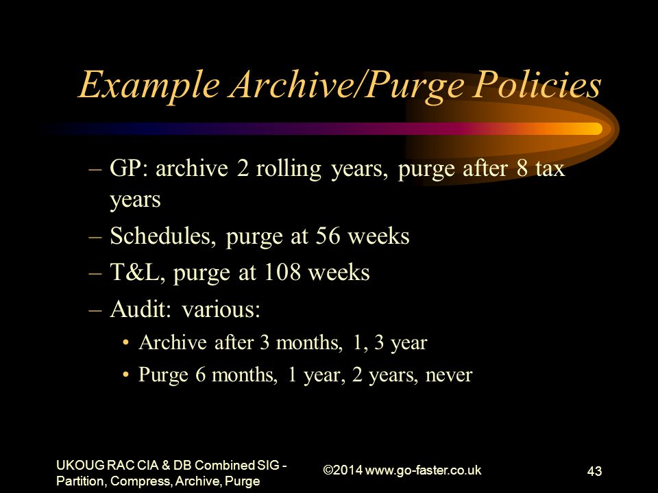 Example Archive/Purge Policies –GP: archive 2 rolling years, purge after 8 tax years –Schedules, purge at 56 weeks –T&L, purge at 108 weeks –Audit: va