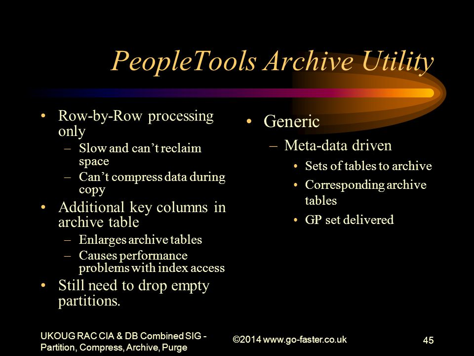 PeopleTools Archive Utility Row-by-Row processing only –Slow and can't reclaim space –Can't compress data during copy Additional key columns in archiv