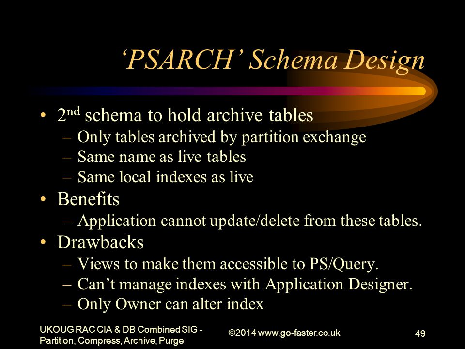 'PSARCH' Schema Design 2 nd schema to hold archive tables –Only tables archived by partition exchange –Same name as live tables –Same local indexes as