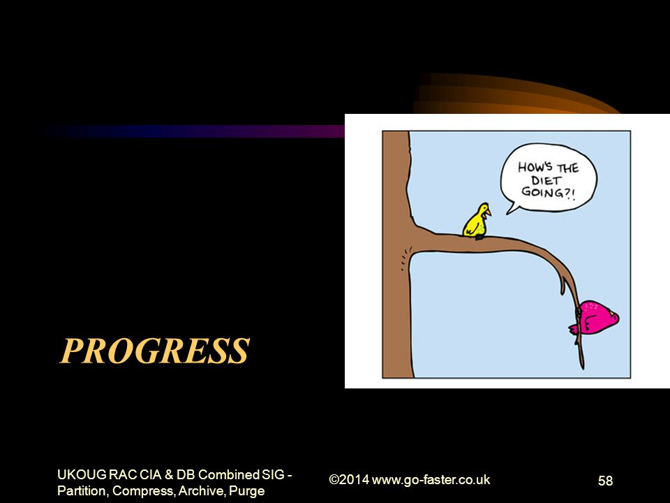 PROGRESS UKOUG RAC CIA & DB Combined SIG - Partition, Compress, Archive, Purge ©2014 www.go-faster.co.uk 58