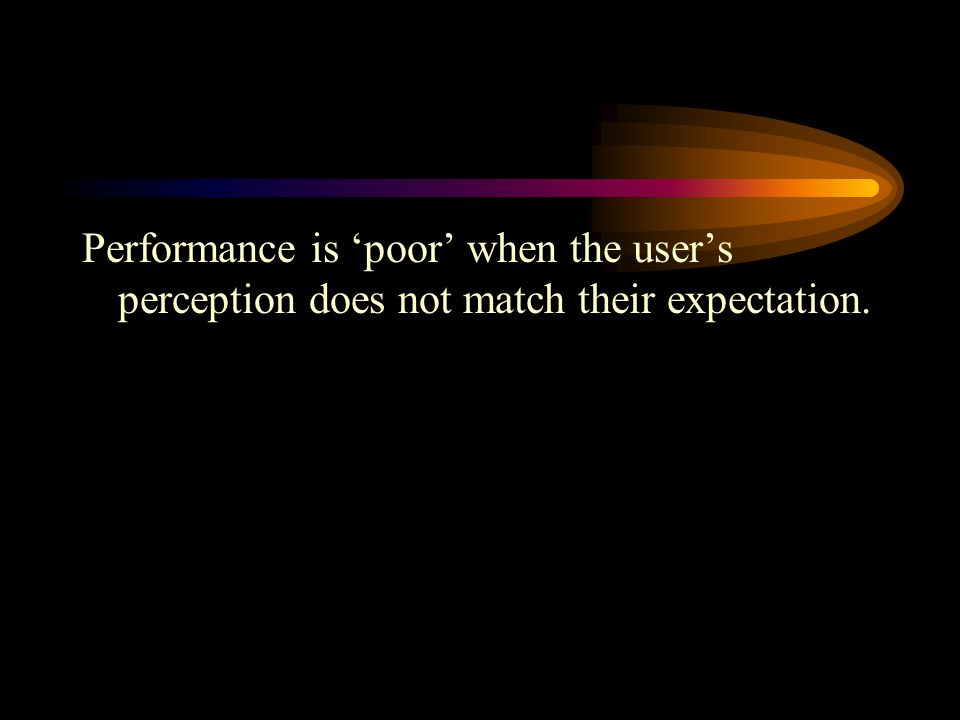 Performance is 'poor' when the user's perception does not match their expectation.