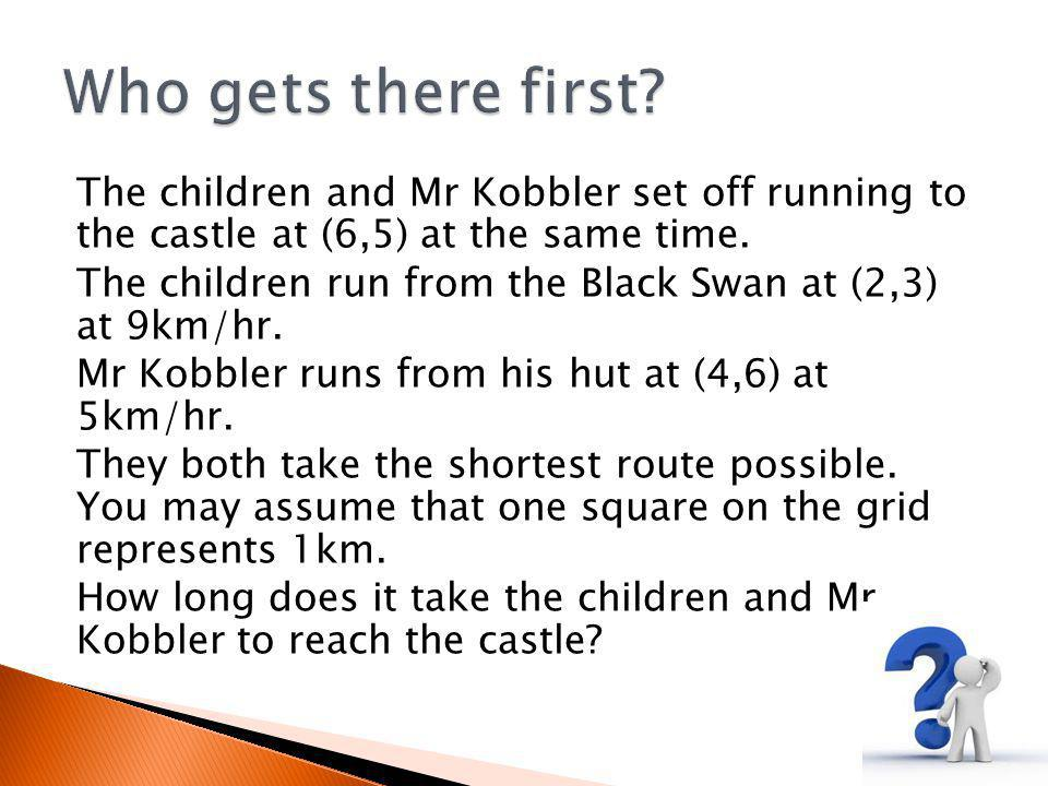 The children and Mr Kobbler set off running to the castle at (6,5) at the same time.