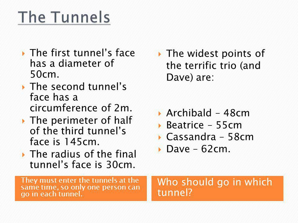 They must enter the tunnels at the same time, so only one person can go in each tunnel.