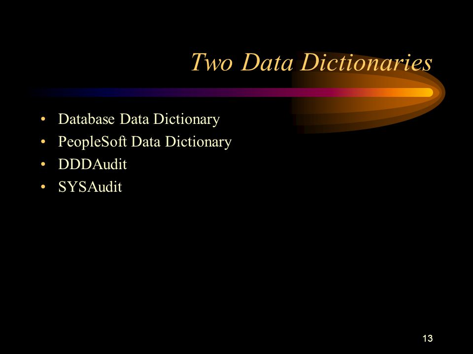 13 Two Data Dictionaries Database Data Dictionary PeopleSoft Data Dictionary DDDAudit SYSAudit