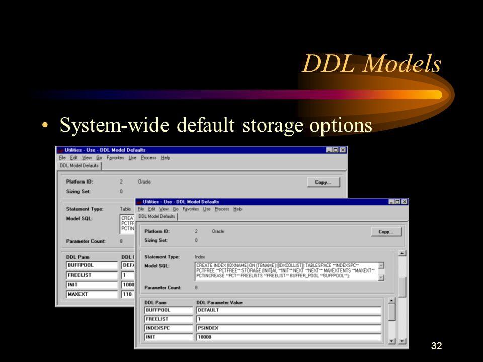32 DDL Models System-wide default storage options
