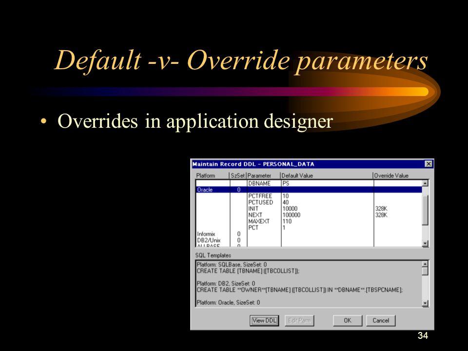 34 Default -v- Override parameters Overrides in application designer