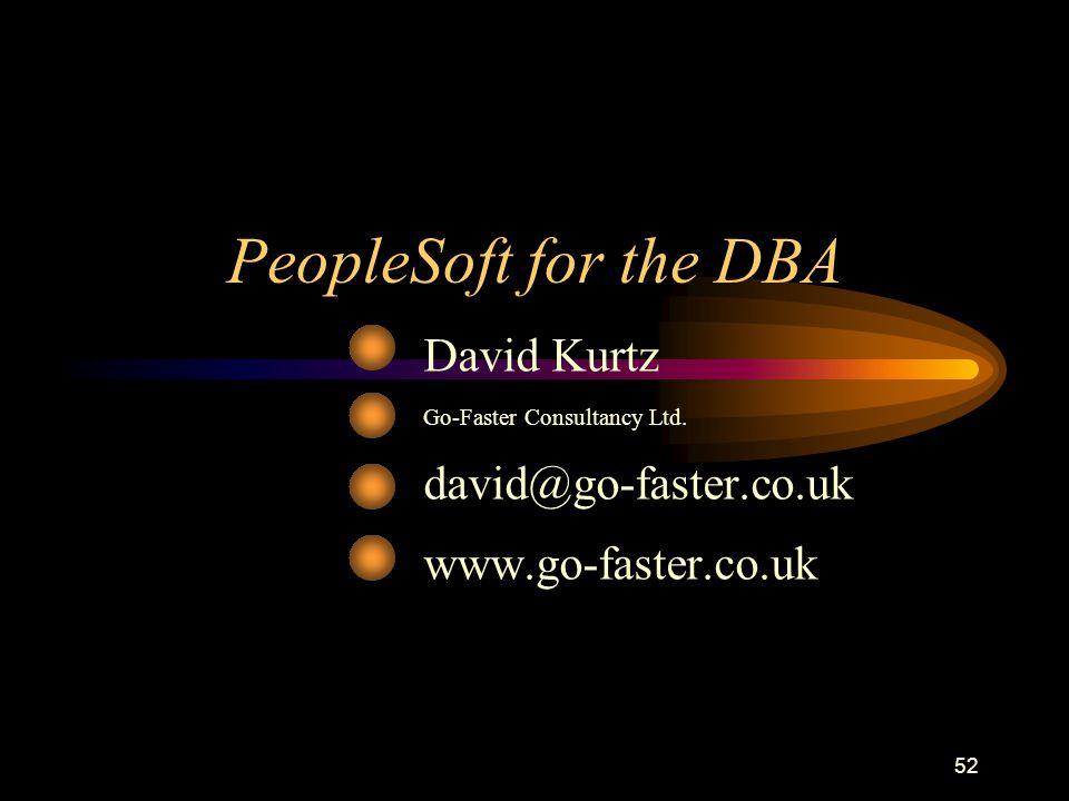52 PeopleSoft for the DBA David Kurtz Go-Faster Consultancy Ltd. david@go-faster.co.uk www.go-faster.co.uk