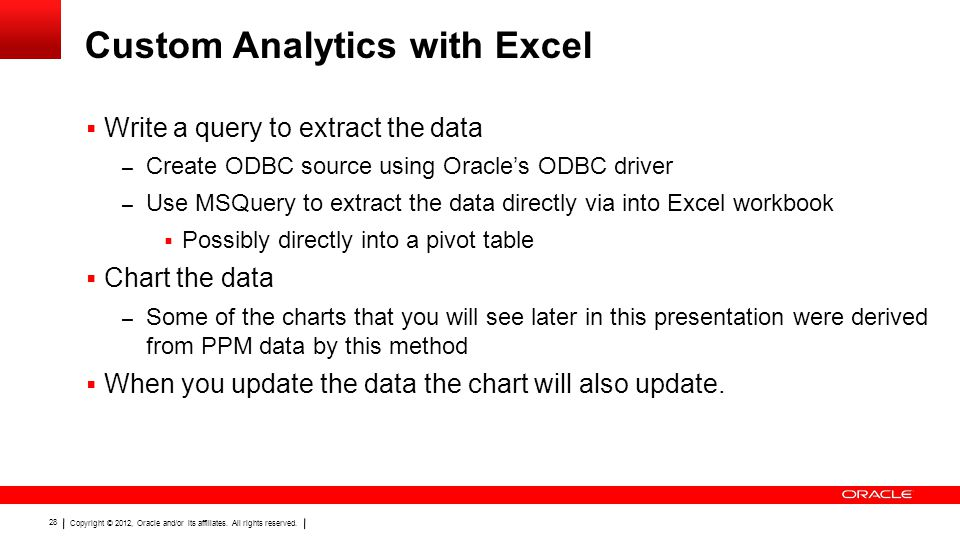 Copyright © 2012, Oracle and/or its affiliates. All rights reserved. 28 Custom Analytics with Excel  Write a query to extract the data – Create ODBC