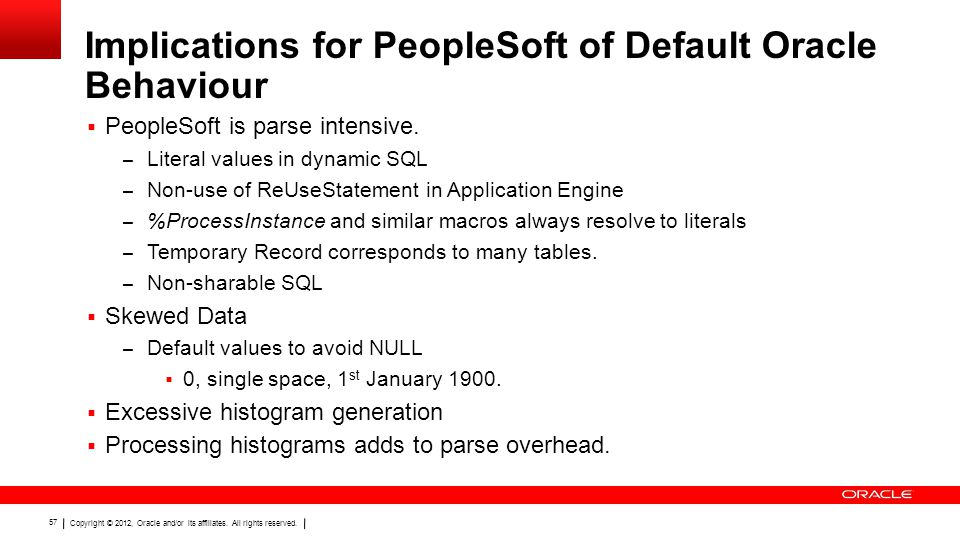 Copyright © 2012, Oracle and/or its affiliates. All rights reserved. 57 Implications for PeopleSoft of Default Oracle Behaviour  PeopleSoft is parse