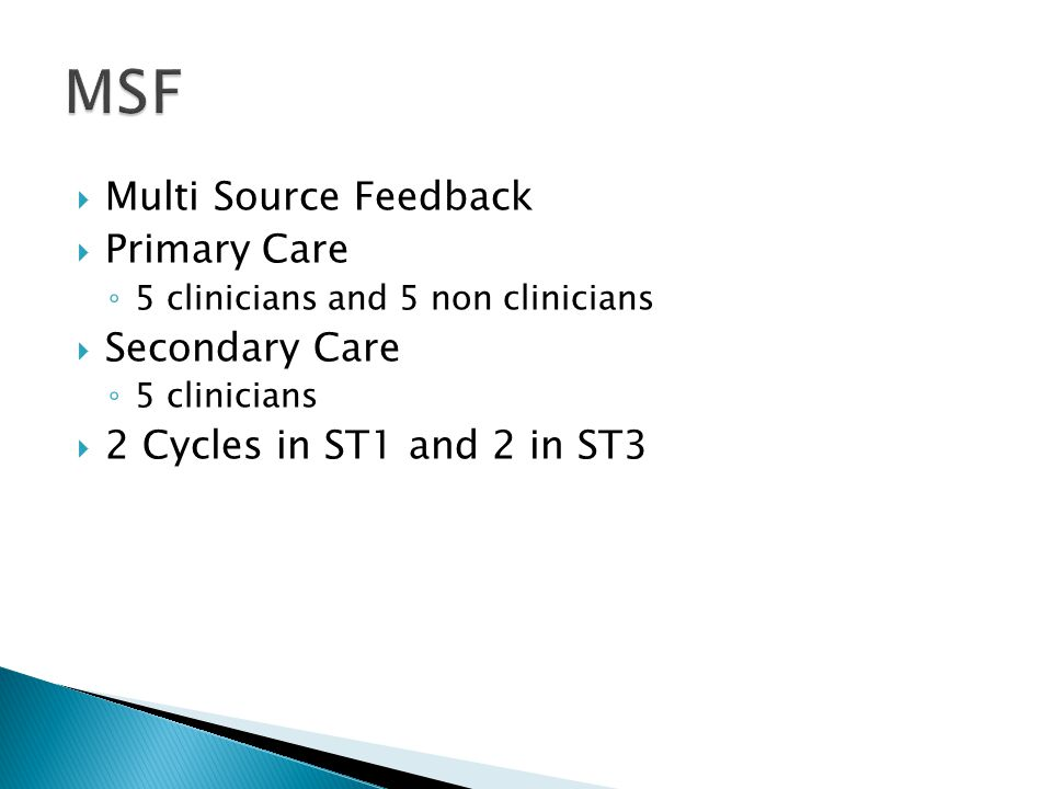  Multi Source Feedback  Primary Care ◦ 5 clinicians and 5 non clinicians  Secondary Care ◦ 5 clinicians  2 Cycles in ST1 and 2 in ST3