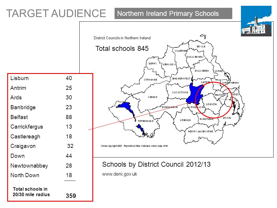 Northern Ireland Primary Schools Lisburn 40 Antrim 25 Ards 30 Banbridge 23 Belfast 88 Carrickfergus 13 Castlereagh 18 Craigavon 32 Down 44 Newtownabbey 28 North Down 18 359 Total schools 845 TARGET AUDIENCE Schools by District Council 2012/13 www.deni.gov.uk Total schools in 20/30 mile radius