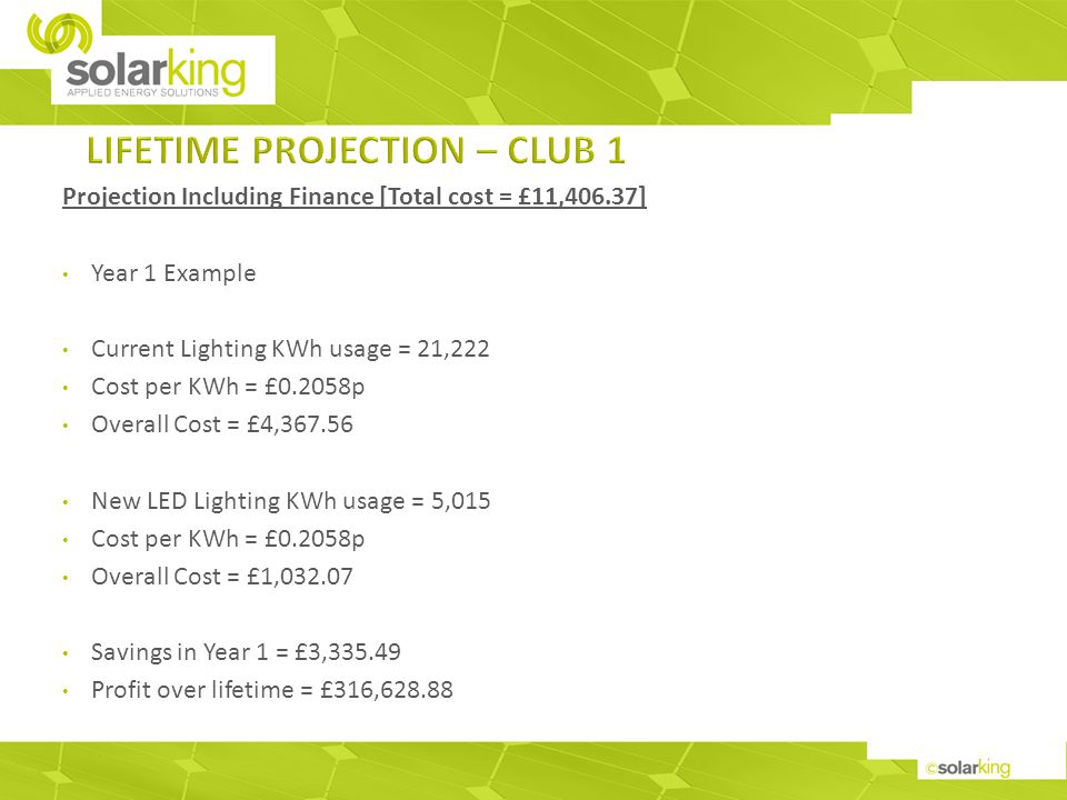 Projection Including Finance [Total cost = £11,406.37] Year 1 Example Current Lighting KWh usage = 21,222 Cost per KWh = £0.2058p Overall Cost = £4,367.56 New LED Lighting KWh usage = 5,015 Cost per KWh = £0.2058p Overall Cost = £1,032.07 Savings in Year 1 = £3,335.49 Profit over lifetime = £316,628.88