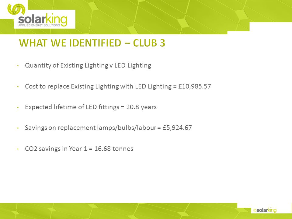 Quantity of Existing Lighting v LED Lighting Cost to replace Existing Lighting with LED Lighting = £10,985.57 Expected lifetime of LED fittings = 20.8 years Savings on replacement lamps/bulbs/labour = £5,924.67 CO2 savings in Year 1 = 16.68 tonnes