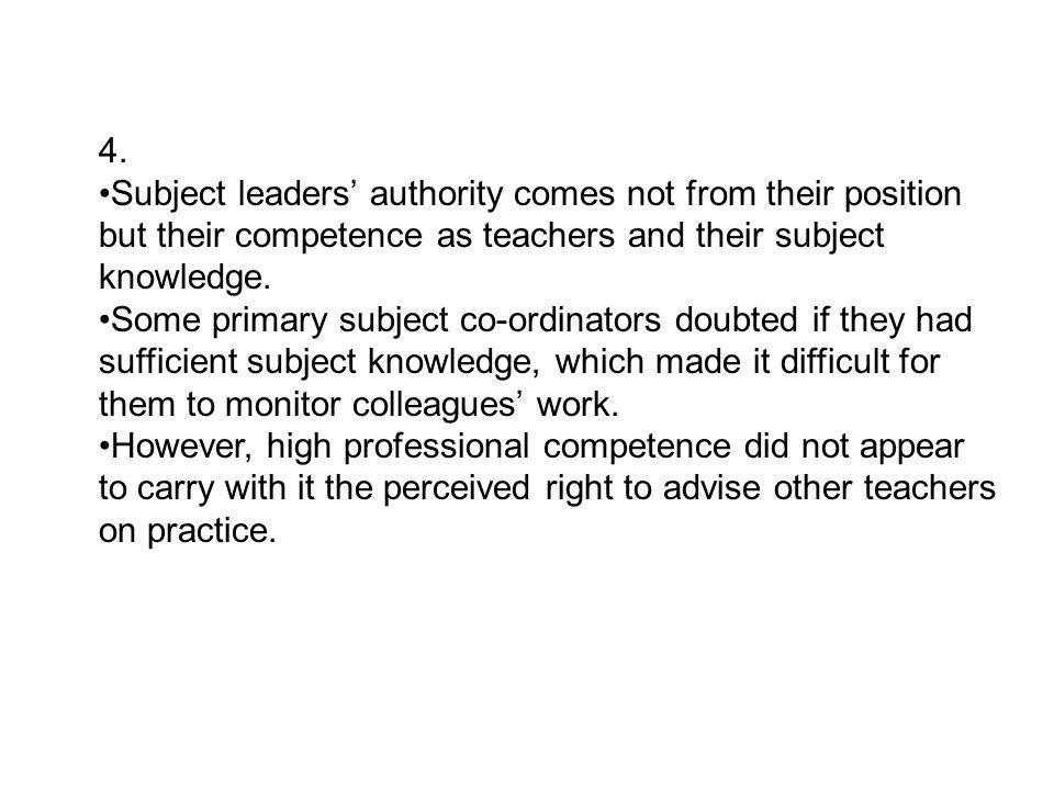 4. Subject leaders' authority comes not from their position but their competence as teachers and their subject knowledge. Some primary subject co-ordi