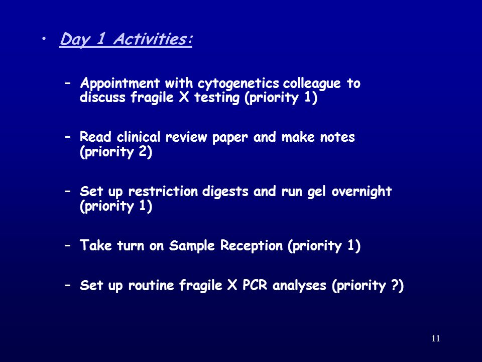 11 Day 1 Activities: –Appointment with cytogenetics colleague to discuss fragile X testing (priority 1) ‏ –Read clinical review paper and make notes (priority 2) ‏ –Set up restriction digests and run gel overnight (priority 1) ‏ –Take turn on Sample Reception (priority 1) ‏ –Set up routine fragile X PCR analyses (priority ) ‏