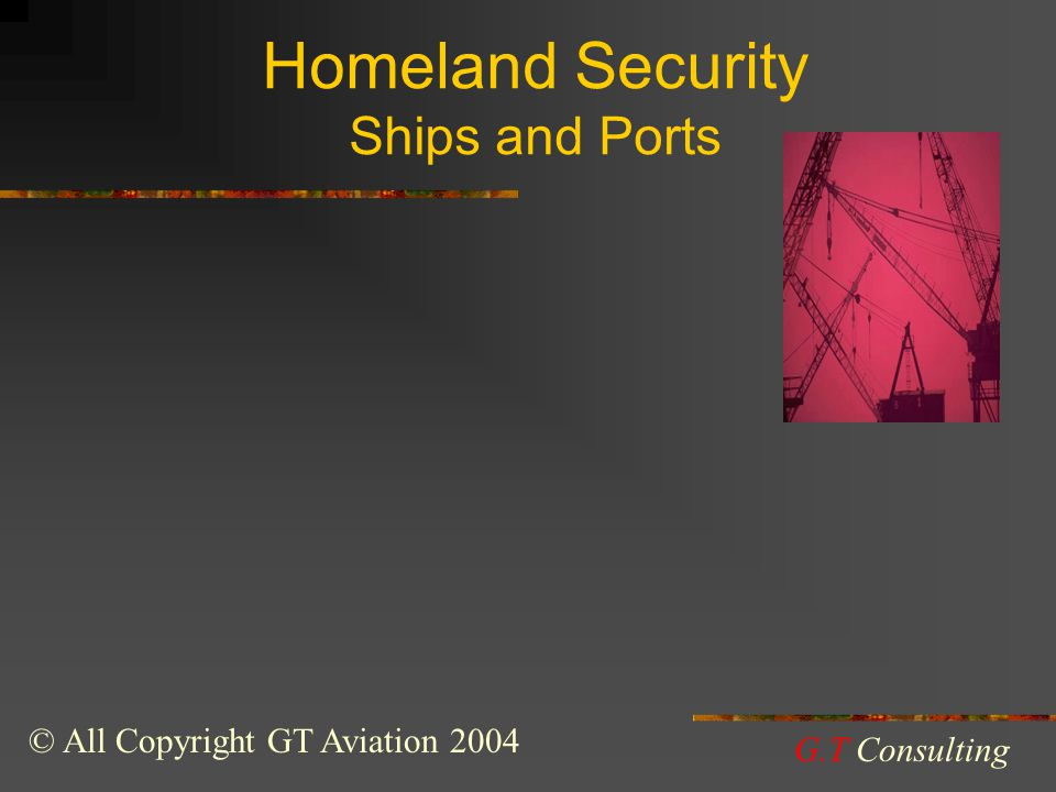 Homeland Security Ships and Ports © All Copyright GT Aviation 2004 G.T Consulting