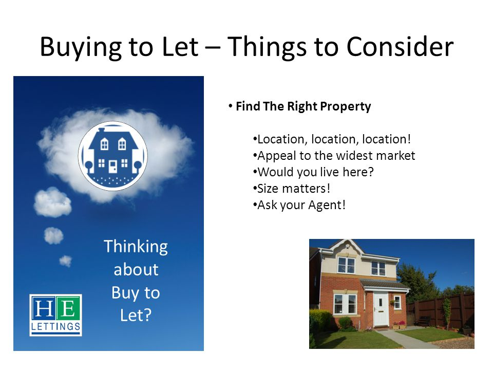 Buying to Let – Things to Consider Present Your Property for Let Furnished / Unfurnished Appliances.