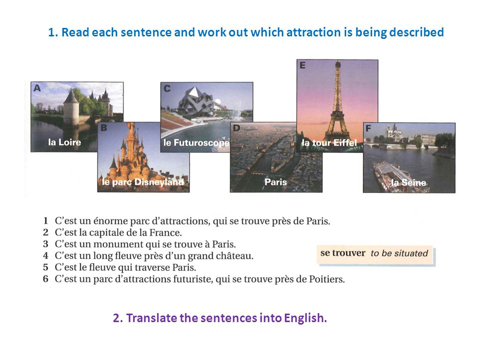 1. Read each sentence and work out which attraction is being described 2. Translate the sentences into English.