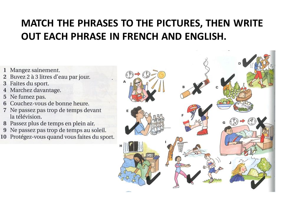 MATCH THE PHRASES TO THE PICTURES, THEN WRITE OUT EACH PHRASE IN FRENCH AND ENGLISH.