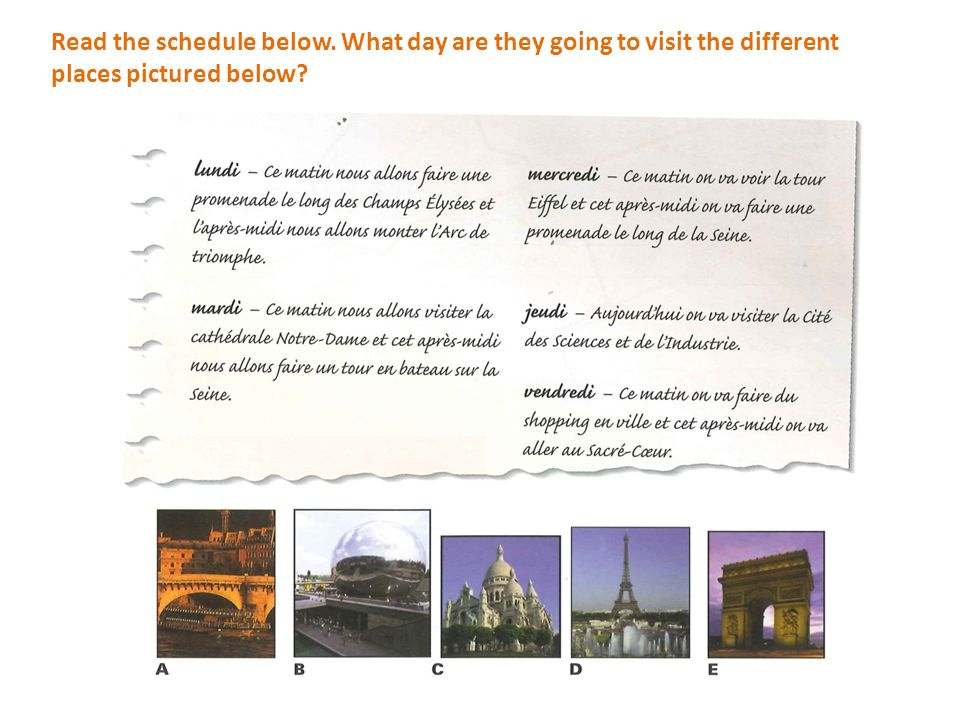 Read the schedule below. What day are they going to visit the different places pictured below?