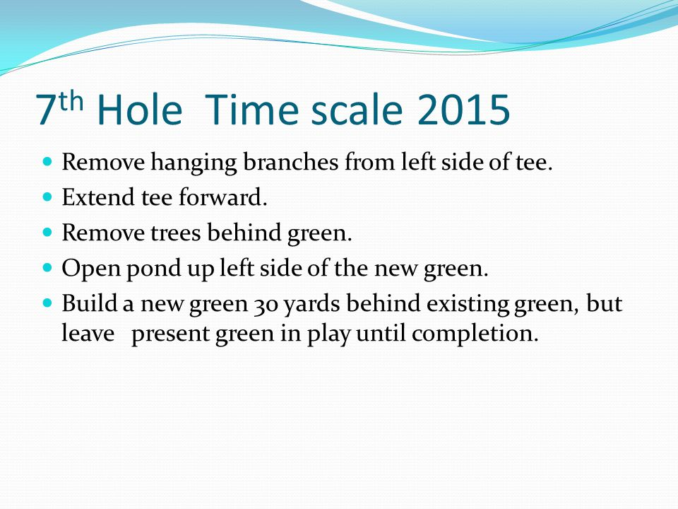 7 th Hole Time scale 2015 Remove hanging branches from left side of tee.