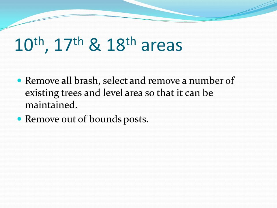 10 th, 17 th & 18 th areas Remove all brash, select and remove a number of existing trees and level area so that it can be maintained.