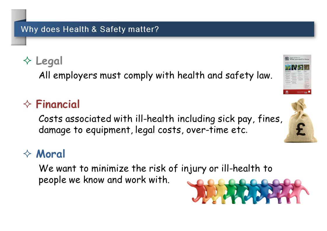 Why does Health & Safety matter?  Legal All employers must comply with health and safety law.  Moral We want to minimize the risk of injury or ill-h
