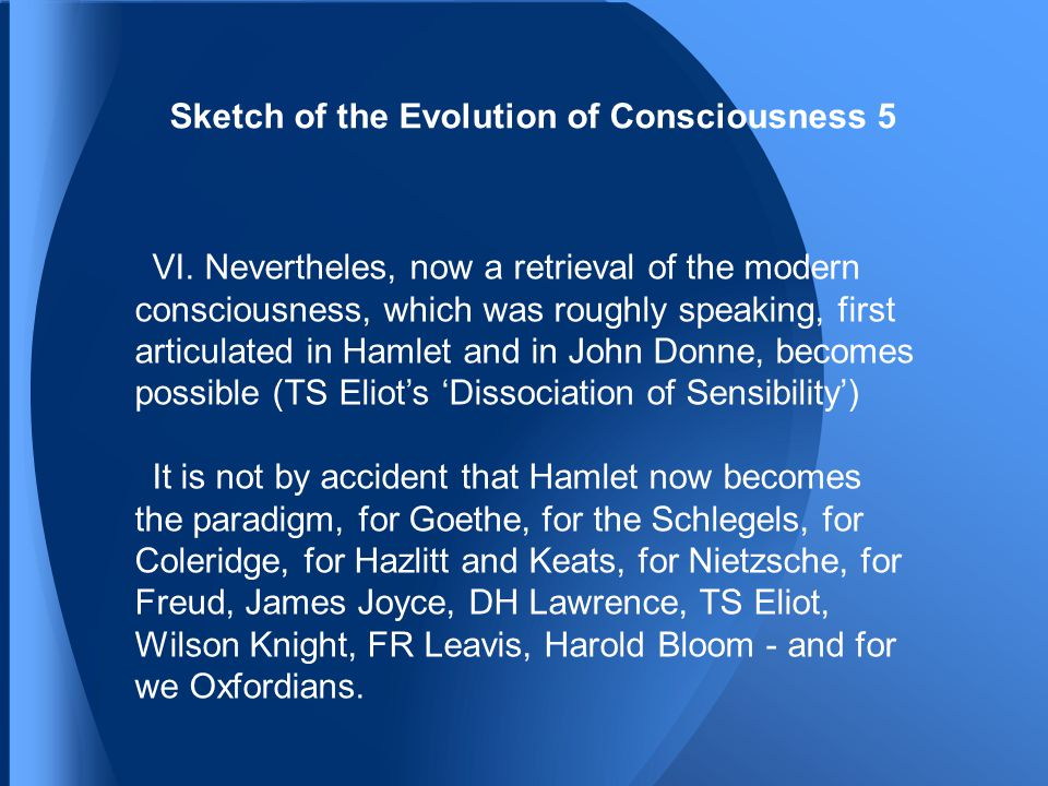 Sketch of the Evolution of Consciousness 5 VI.