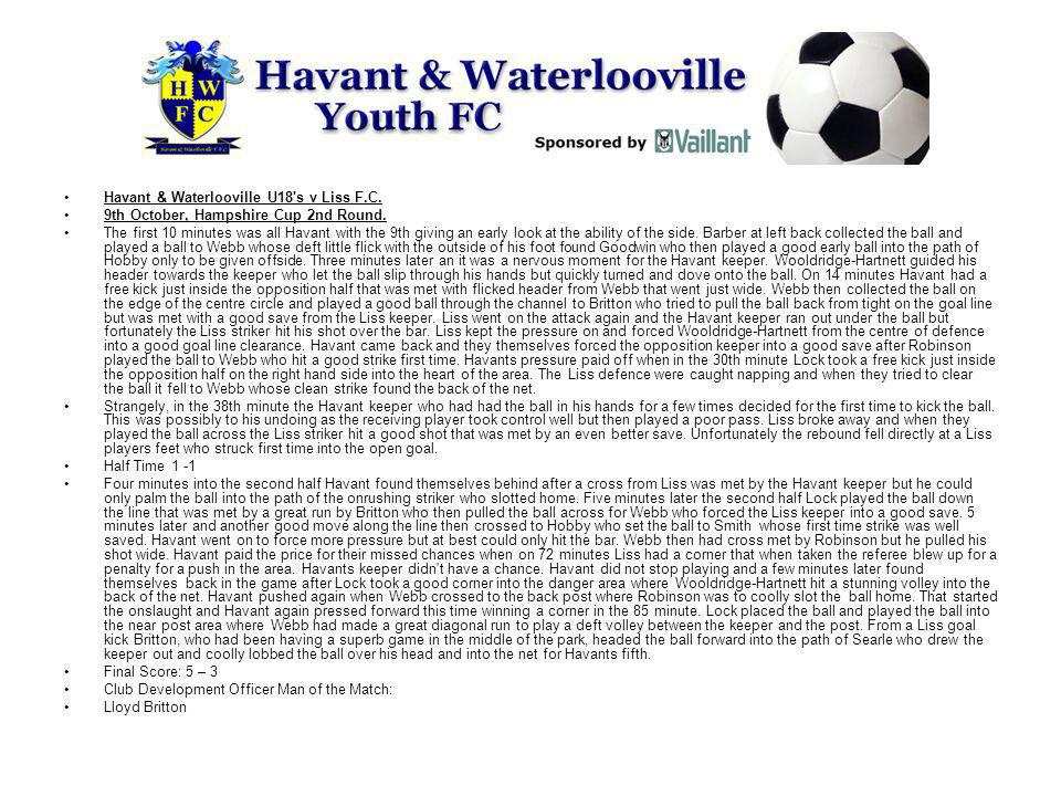 Havant & Waterlooville U18 s v Liss F.C.9th October, Hampshire Cup 2nd Round.