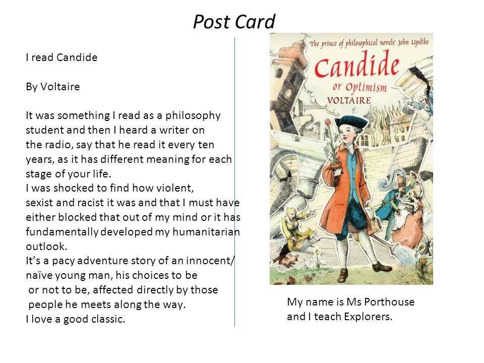 I read Candide By Voltaire It was something I read as a philosophy student and then I heard a writer on the radio, say that he read it every ten years, as it has different meaning for each stage of your life.