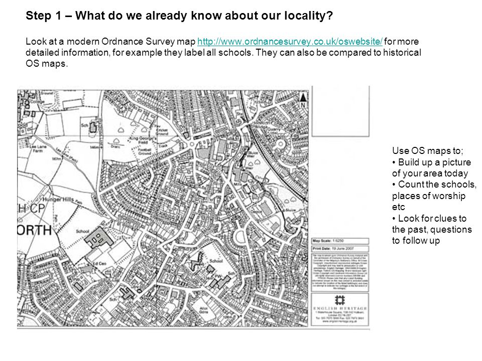 Step 1 – What do we already know about our locality.