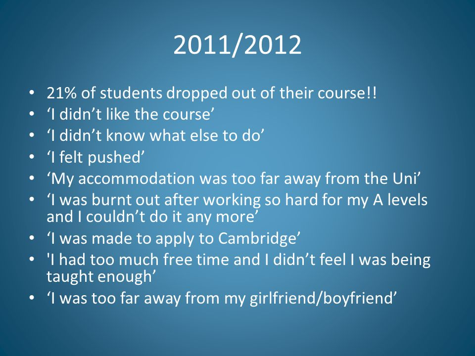 2011/2012 21% of students dropped out of their course!.