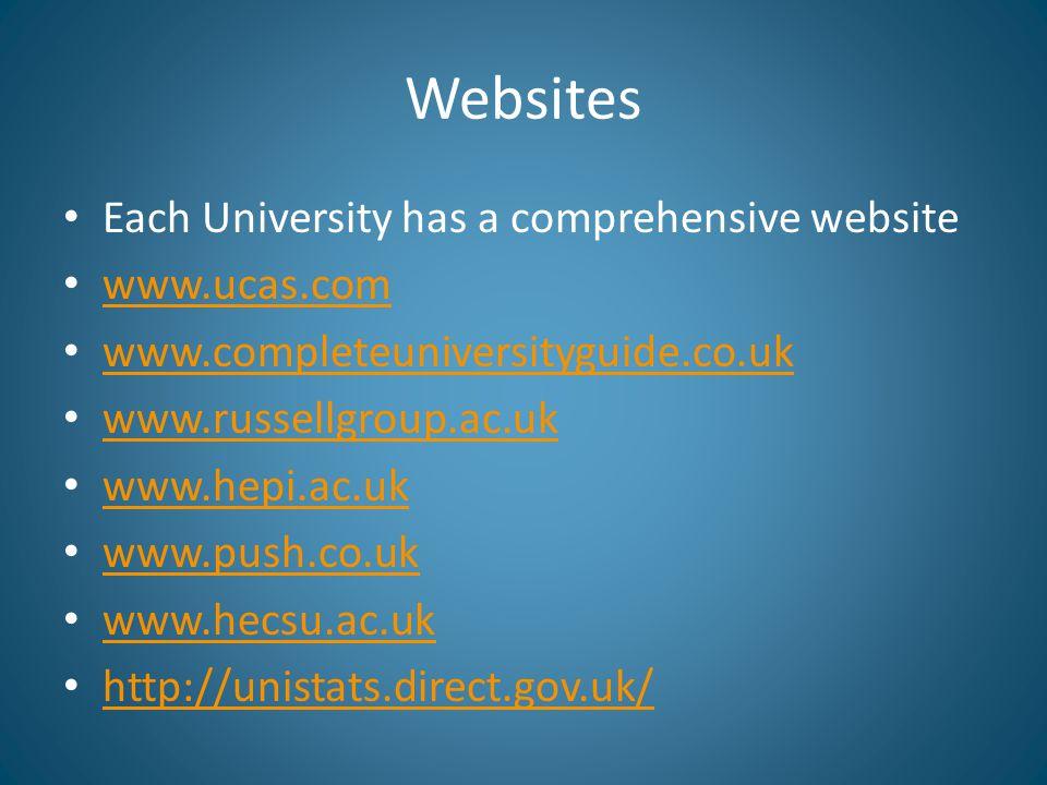 Websites Each University has a comprehensive website www.ucas.com www.completeuniversityguide.co.uk www.russellgroup.ac.uk www.hepi.ac.uk www.push.co.uk www.hecsu.ac.uk http://unistats.direct.gov.uk/