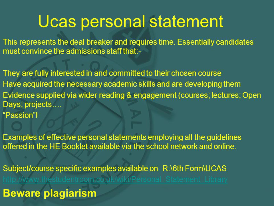 Ucas personal statement This represents the deal breaker and requires time.