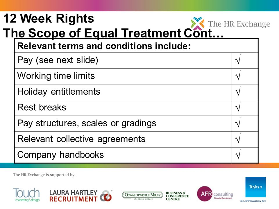 12 Week Rights The Scope of Equal Treatment Cont… Relevant terms and conditions include: Pay (see next slide) √ Working time limits √ Holiday entitlements √ Rest breaks √ Pay structures, scales or gradings √ Relevant collective agreements √ Company handbooks √