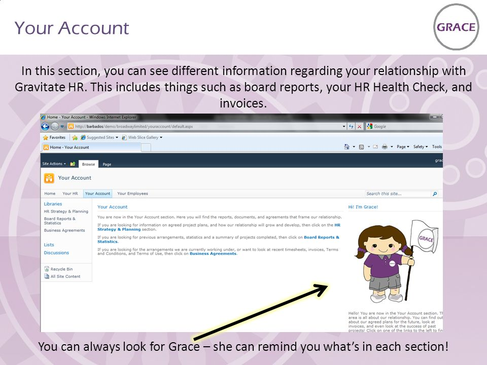 Your Account In this section, you can see different information regarding your relationship with Gravitate HR.