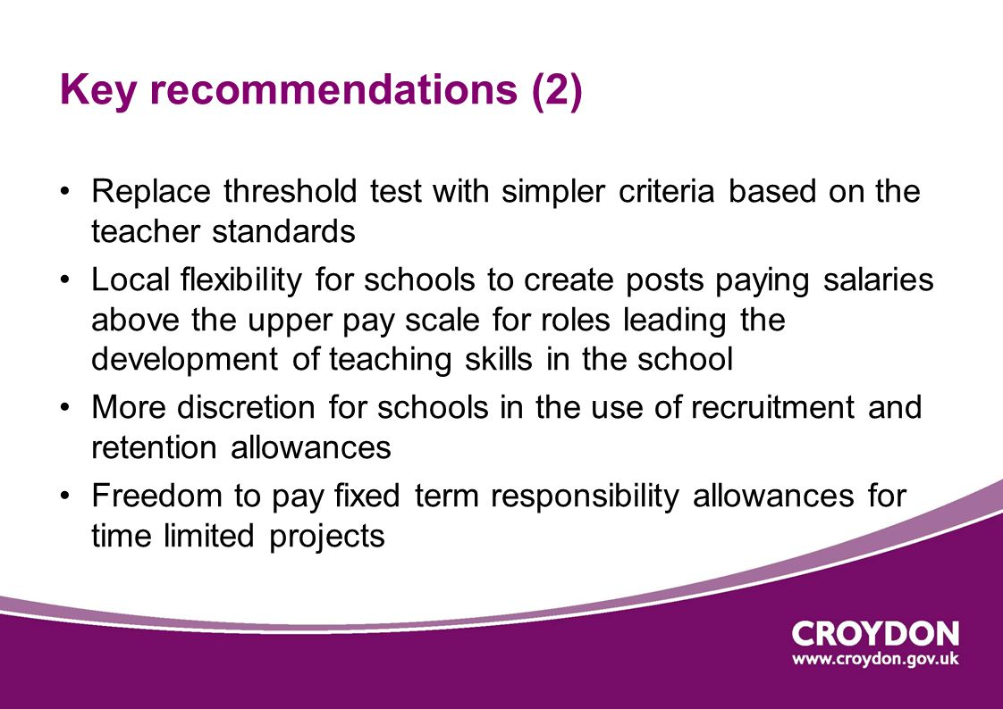 Implementation Full detail in slimmed down pay and conditions document Anticipate that the pay and conditions document will be available earlier than usual, at the start of the summer term, rather than for the start of the Autumn Term This week, STRB issued a note highlighting the key points schools need to take into account