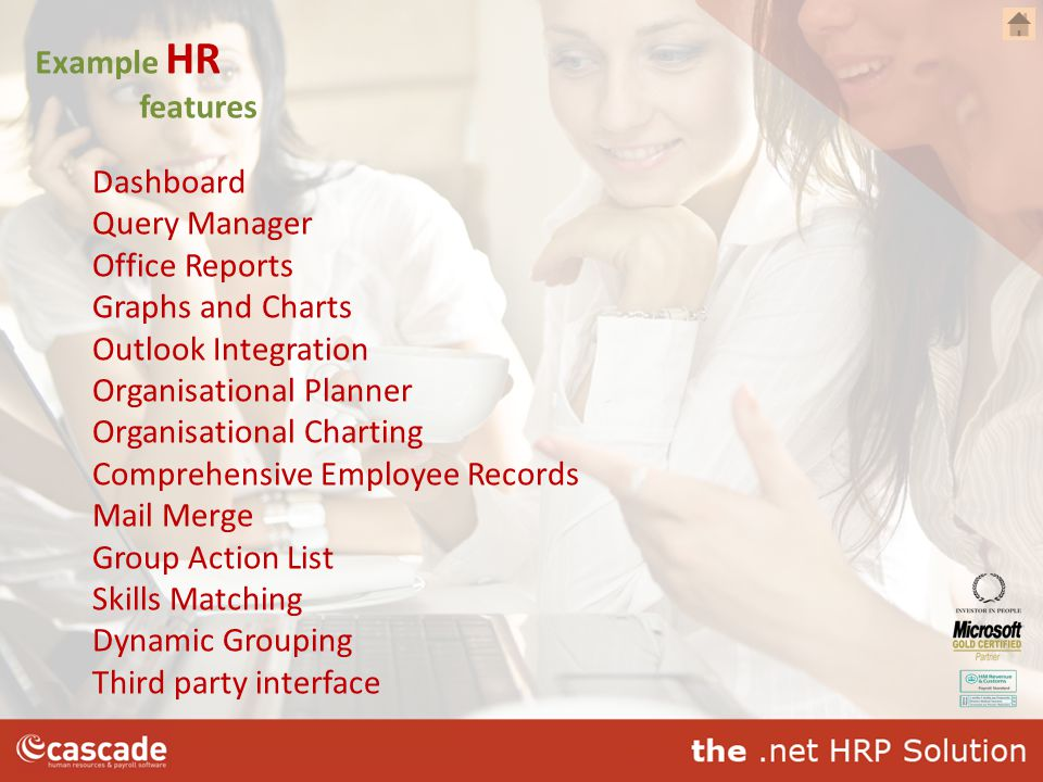 Example HR features Dashboard Query Manager Office Reports Graphs and Charts Outlook Integration Organisational Planner Organisational Charting Compre