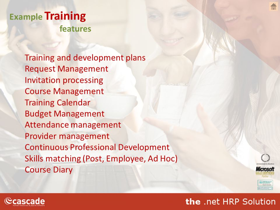 Example Training features Training and development plans Request Management Invitation processing Course Management Training Calendar Budget Managemen