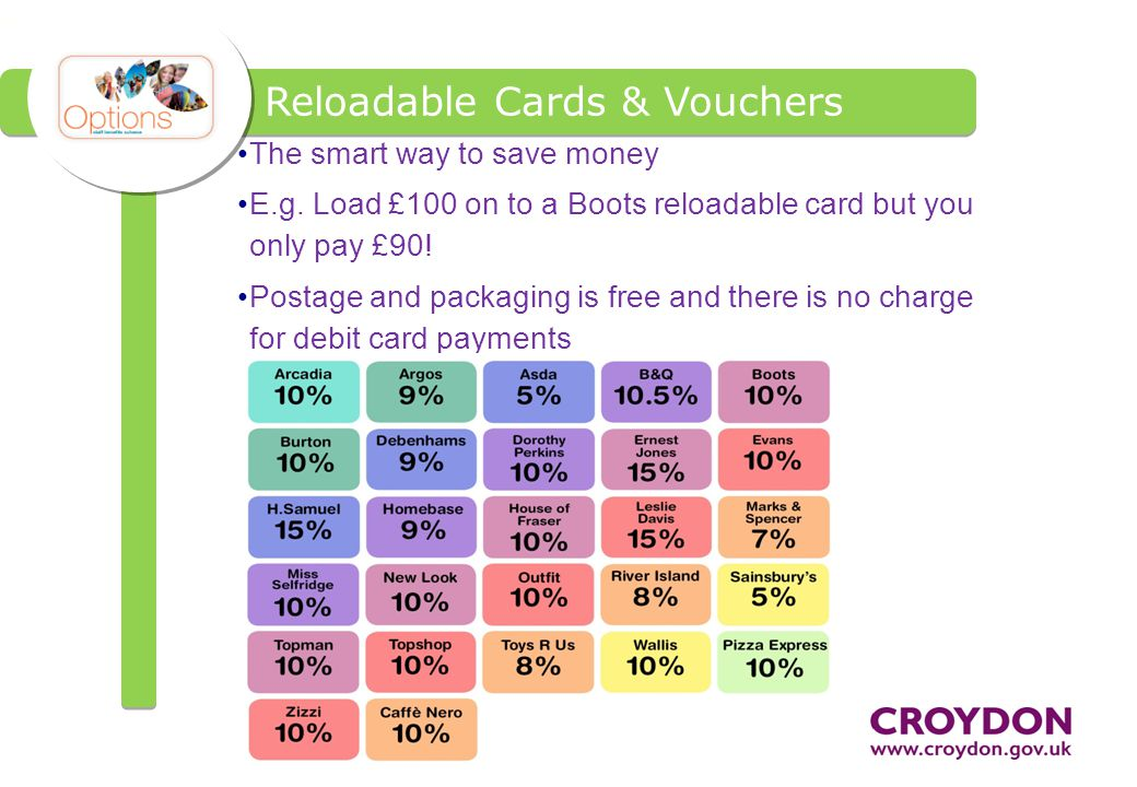 Reloadable Cards & Vouchers The smart way to save money E.g.