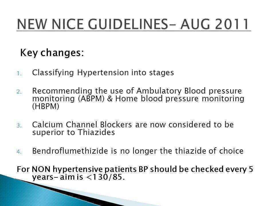 Key changes: 1. Classifying Hypertension into stages 2.
