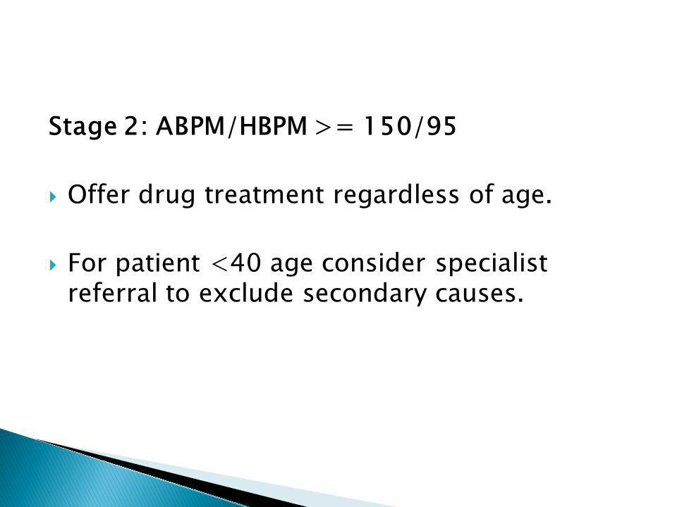 Stage 2: ABPM/HBPM >= 150/95  Offer drug treatment regardless of age.