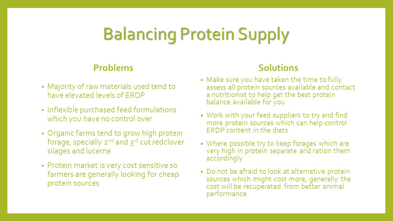 Balancing Protein Supply Problems Majority of raw materials used tend to have elevated levels of ERDP Inflexible purchased feed formulations which you