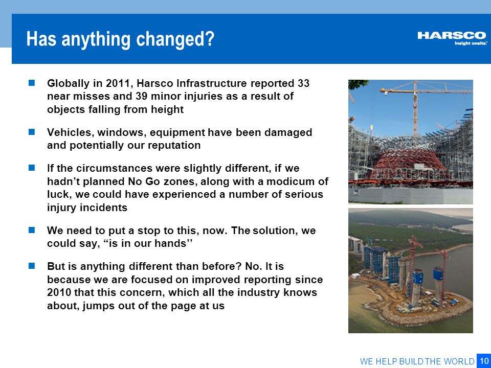 10 WE HELP BUILD THE WORLD Has anything changed? Globally in 2011, Harsco Infrastructure reported 33 near misses and 39 minor injuries as a result of